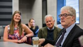 Prior to the talk, Robinson met with students from the College of Education to discuss creativity in schools. Jon Drescher, professor of practice in educational leadership, facilitated. Photo: Christa Neu
