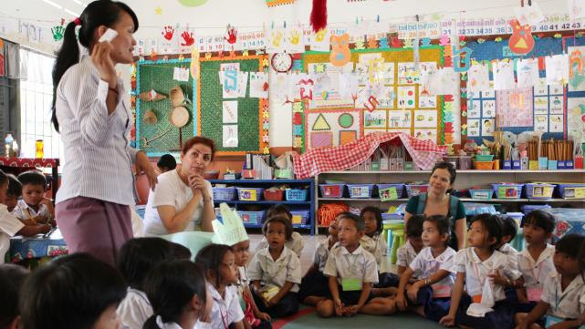 Caring for Cambodia - Lehigh students observing a CFC classroom